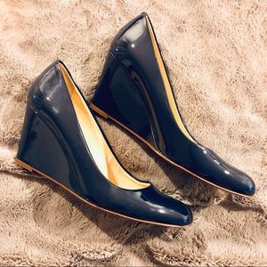 J Crew Navy Patent Leather Wedges